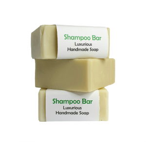 stack of three small square solid shampoo bar australian made hand made plastic free paper compostable packaging